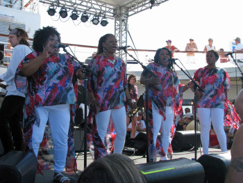 The McCrary Sisters bring high-energy gospel to the pool deck.